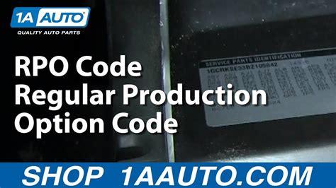 rpo code regular production option code