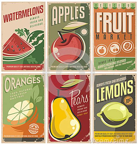 affiche vintage cuisine retro fruit poster designs stock vector image 42217563