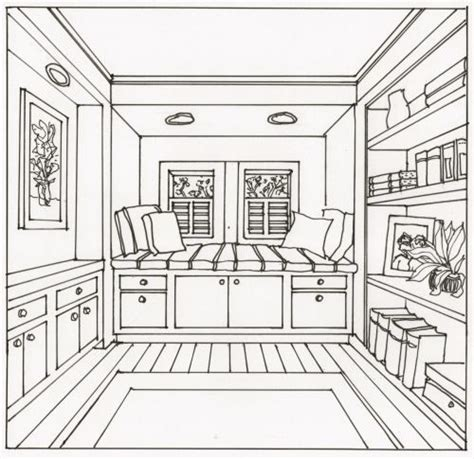 drawing  interior space   point perspective