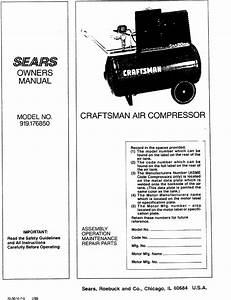 Craftsman 919176850 User Manual Air Compressor Manuals And