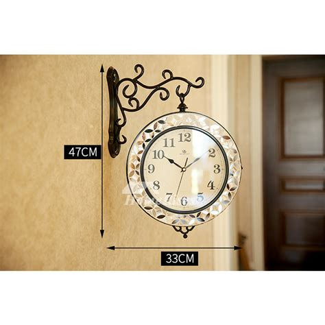 double sided wall clock hanging seashell metal