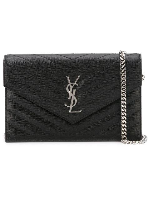saint laurent chain wallet clutch ysl monogram quilted envelope blacksilver leather cross body