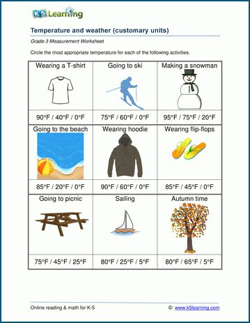 temperature worksheets weather  temperature  learning