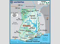 Ghana Map Geography of Ghana Map of Ghana Worldatlascom