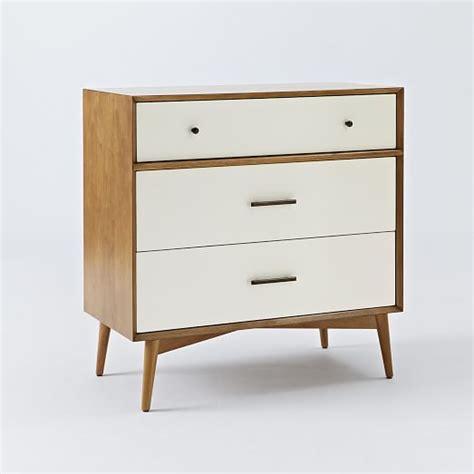 50s home decor mid century 3 drawer dresser white acorn elm