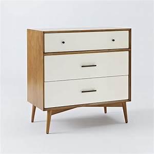 Mid-Century 3-Drawer Dresser - White + Acorn west elm