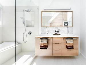 salle de bain deco scandinave en blanc et bois With salle de bain style nordique