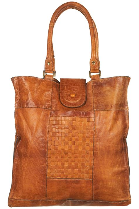 lyst topshop leather woven panel tote bag  brown