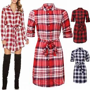 Femmes tartan a carreaux robe chemise a manches longues for Robe chemise longue femme
