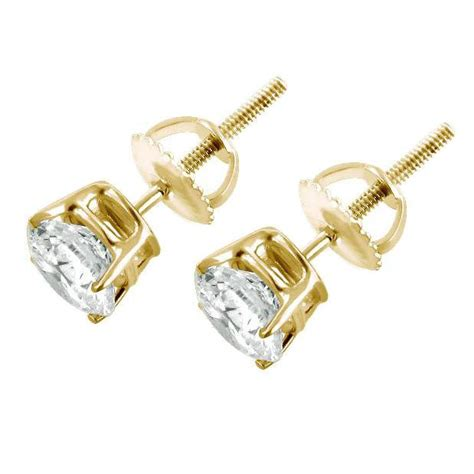 ct  diamond stud earrings   yellow gold