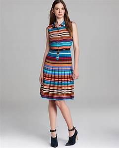 Calvin Klein Striped Belted Shirt Dress Sleeveless Lyst