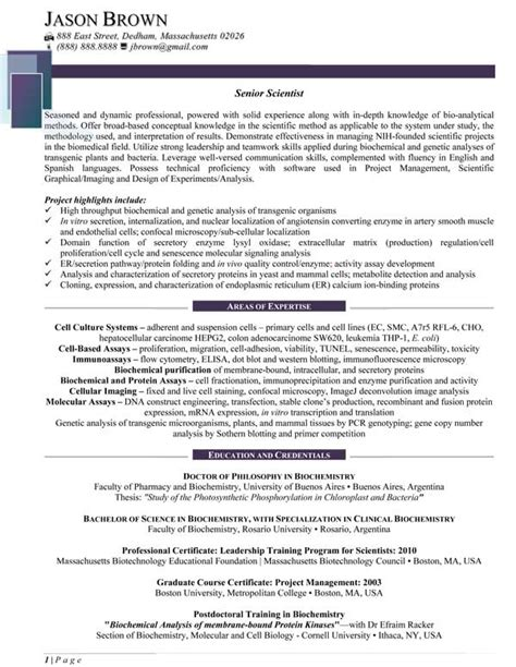 Senior Scientist Resume Exles by Science And Research Resume Sles Resume Professional Writers