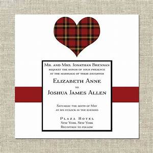 scottish wedding invitation tartan heart by cremepaperie With wedding invitations with tartan