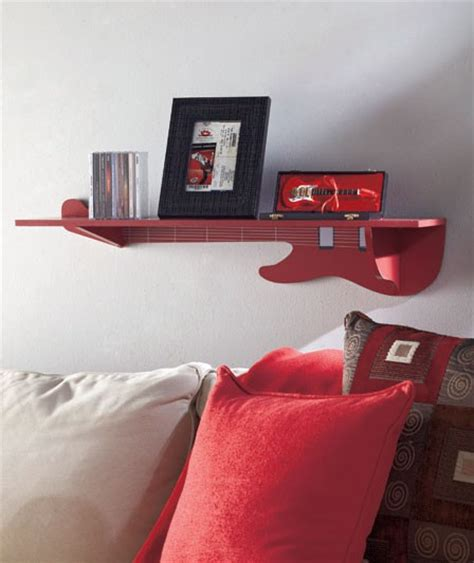 New Musical Themed Wall Shelf Red Guitar Storage Wall