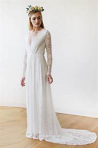 illusion long sleeved ruched v neck vintage bride wedding With v neck wedding dress with sleeves