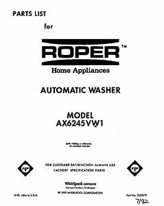 Roper Ax6245vw1 Washer Parts