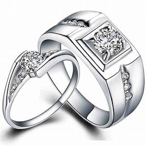 Pair 925 sterling silver wedding ring set white gold fill for Promise ring engagement ring and wedding ring set