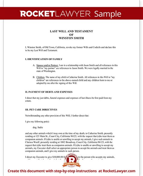 Last Will And Testament Template California by Template For Will Sle Last And Testament Form