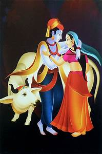 Bust Size Chart Radha Krishna In A Romantic Mood Unframed Poster