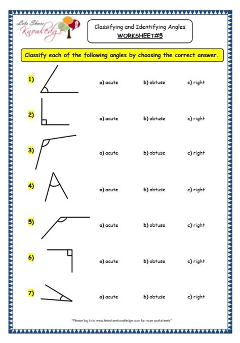 grade 3 maths worksheets 14 7 geometry classifying and identifying angles lets share knowledge