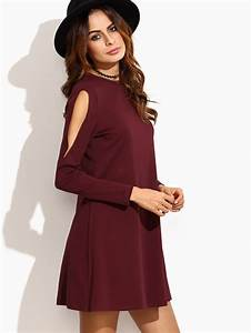 open shoulder swing dress sheinsheinside With robe moulante manche longue