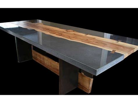 how to make a concrete table top polished concrete with addition of wood slabs for table or