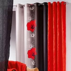 Rideau Gris Et Rouge : rideau 140 x h240 cm maeva rouge rideau tamisant eminza ~ Teatrodelosmanantiales.com Idées de Décoration