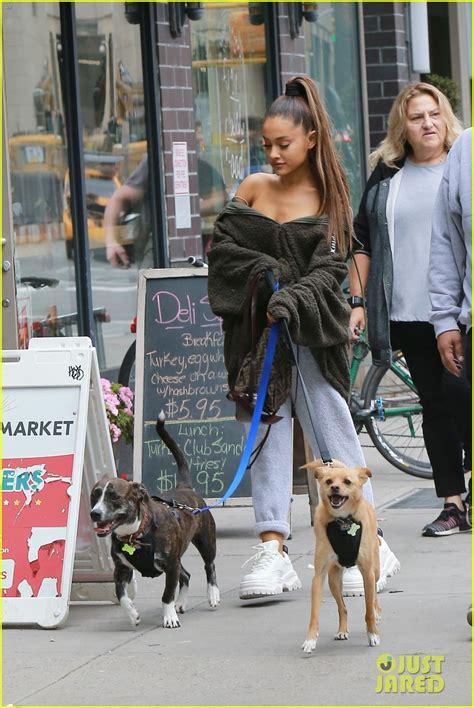 ariana grande takes  pups   stroll   york city