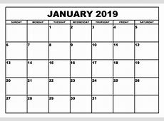 January 2019 Calendar A4 Printable – Calendar Template