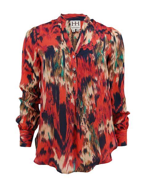 haute hippie blouse haute hippie ikat print henley blouse in multicolor multi
