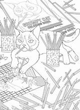 Coloring Cat Grumpy Another Stamping March Craftgossip sketch template