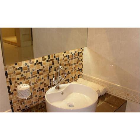 Brown Mosaic Bathroom Mirror by Crackle Glass Tile Backsplash Cheap Brown Mosaics