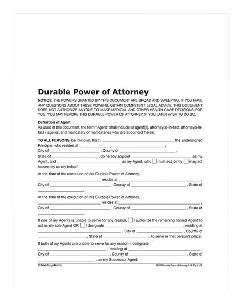 adams durable power  attorney forms  instructions