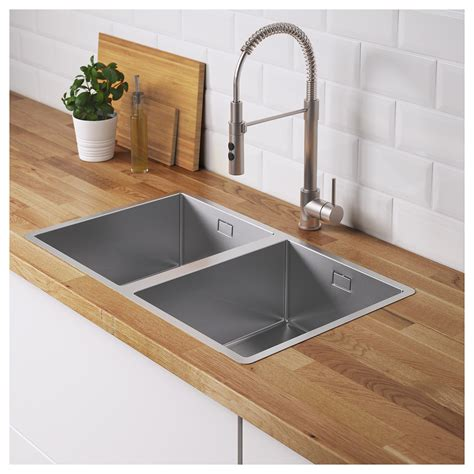 best material for kitchen sink norrsj 214 n inset sink 2 bowls stainless steel 73 x 44 cm ikea 7751