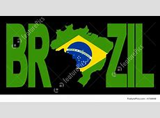 Brazil Text With Map Illustration