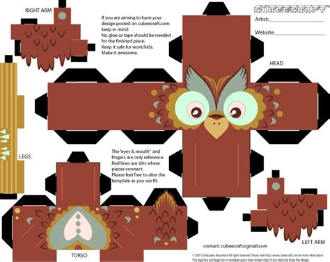 owl paper toys owl cubeecraft by slateraw on deviantart 2590