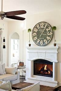 Wall clock above fireplace for living space clocks
