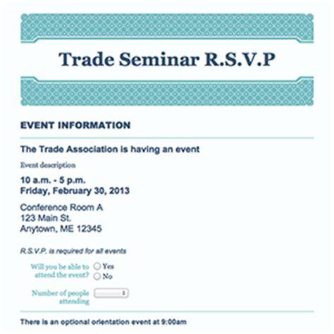 Rsvp Template For Event by Formcentral Template Exchange Event Rsvp
