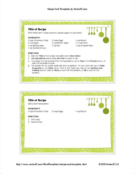 printable recipe card template  word