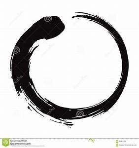 Enso Zen Circle Brush Black Ink Vector Illustration Stock