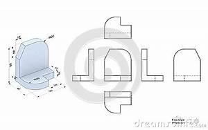 Technische Zeichnung Ansichten : technische zeichnung mit perspektive und orthogonalen ansichten stock abbildung bild 69113003 ~ Yasmunasinghe.com Haus und Dekorationen