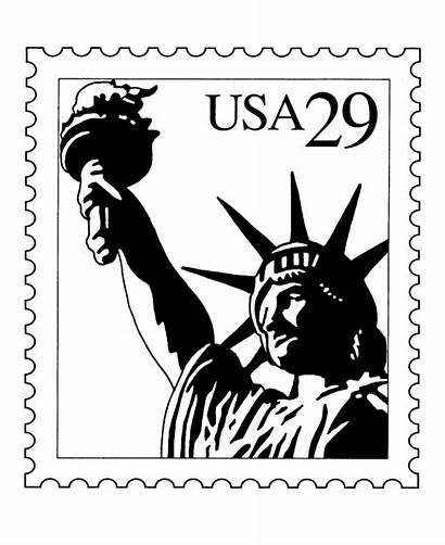 Coloring Stamp Usps Stamps Postage Liberty Statue