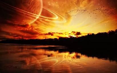 Planet Sunset Wallpapers Desktop Backgrounds Planetary Rings