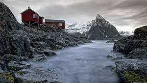 Wood, House, Nature, Landscape, Norway, Mountain, Rock