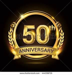 50th Anniversary Celebration Logo Golden Ring Stock Vector ...