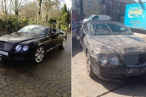 wrecked car before and after businesswoman 39 s 80k bentley is wrecked at cheetham hill