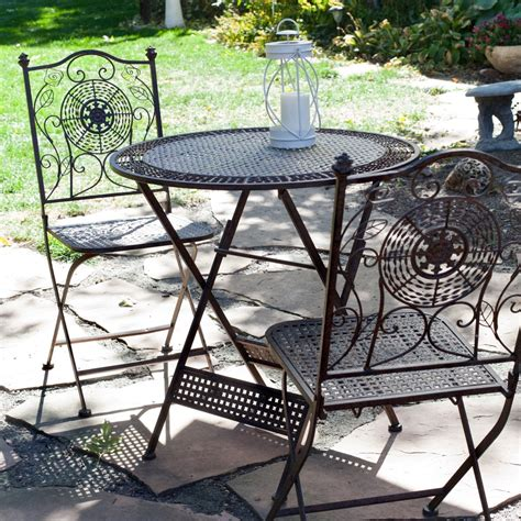 3 folding outdoor patio furniture bistro set in