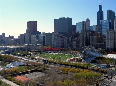history of millennium park file view of the chicago skyline from 340 on the park jpg wikipedia