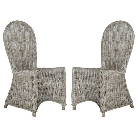 Safavieh Wicker Chairs by Safavieh Idola Wicker Dining Chair White Washed Set Of 2