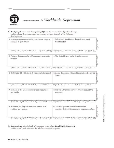 28 causes of the great depression worksheet the